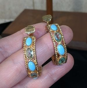 Monet Gold and blue crystal earrings